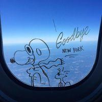 Художник оставляет классные рисунки на окнах самолета во время каждого полета
