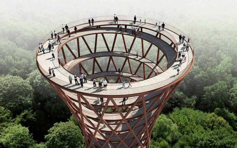 Новый формат лесных прогулок: в Дании посреди леса появится огромная спиральная башня