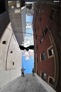 Небесное искусство: француз рисует сказку в небе среди городских пейзажей