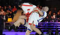 Финальная схватка на Алматинском чемпионате борцов.