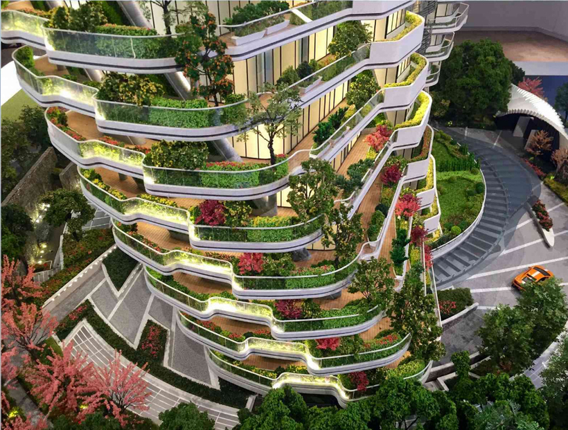 Эконебоскреб Agora Garden в Тайбэе — жилой дом в джунглях