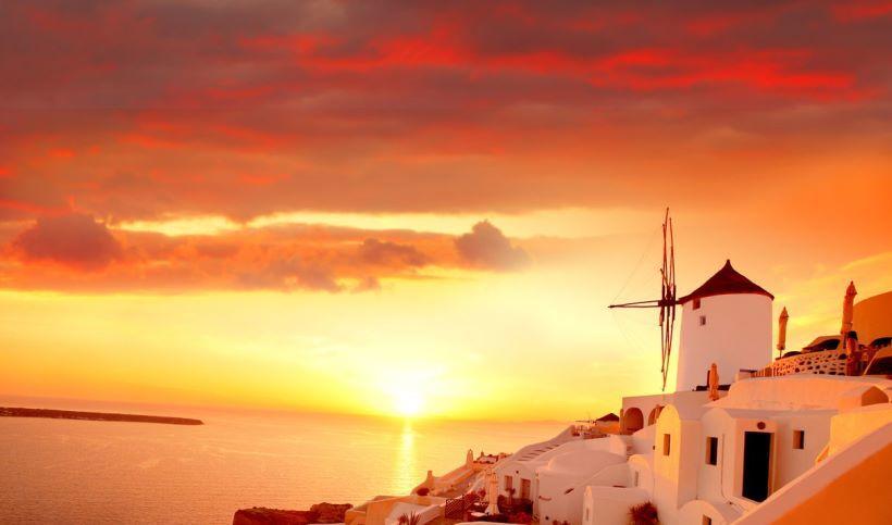 поселок ия Поселок Ия на острове Санторини h8 colorful sunset Santorini Greece