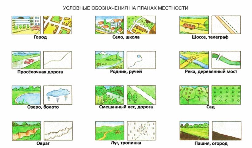 понять, как условные знаки плана местности в картинках болотный мох очень