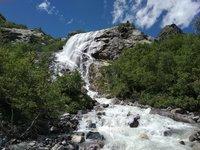 Алибекский водопад в июле, Домбай